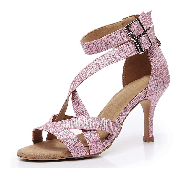 HhGold Damen Soft Rubber Sole Knöchelriemen Rosa Latin Salsa Tanzschuhe Hochzeit Schuhe UK 2 (Farbe   - Größe   -)