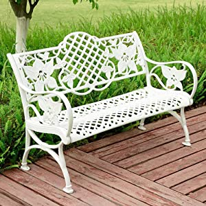 Caesar Furniture Outdoor Patio Cast Aluminum Bench Garden Backyard Solid with Huge Flower Pattern (White)