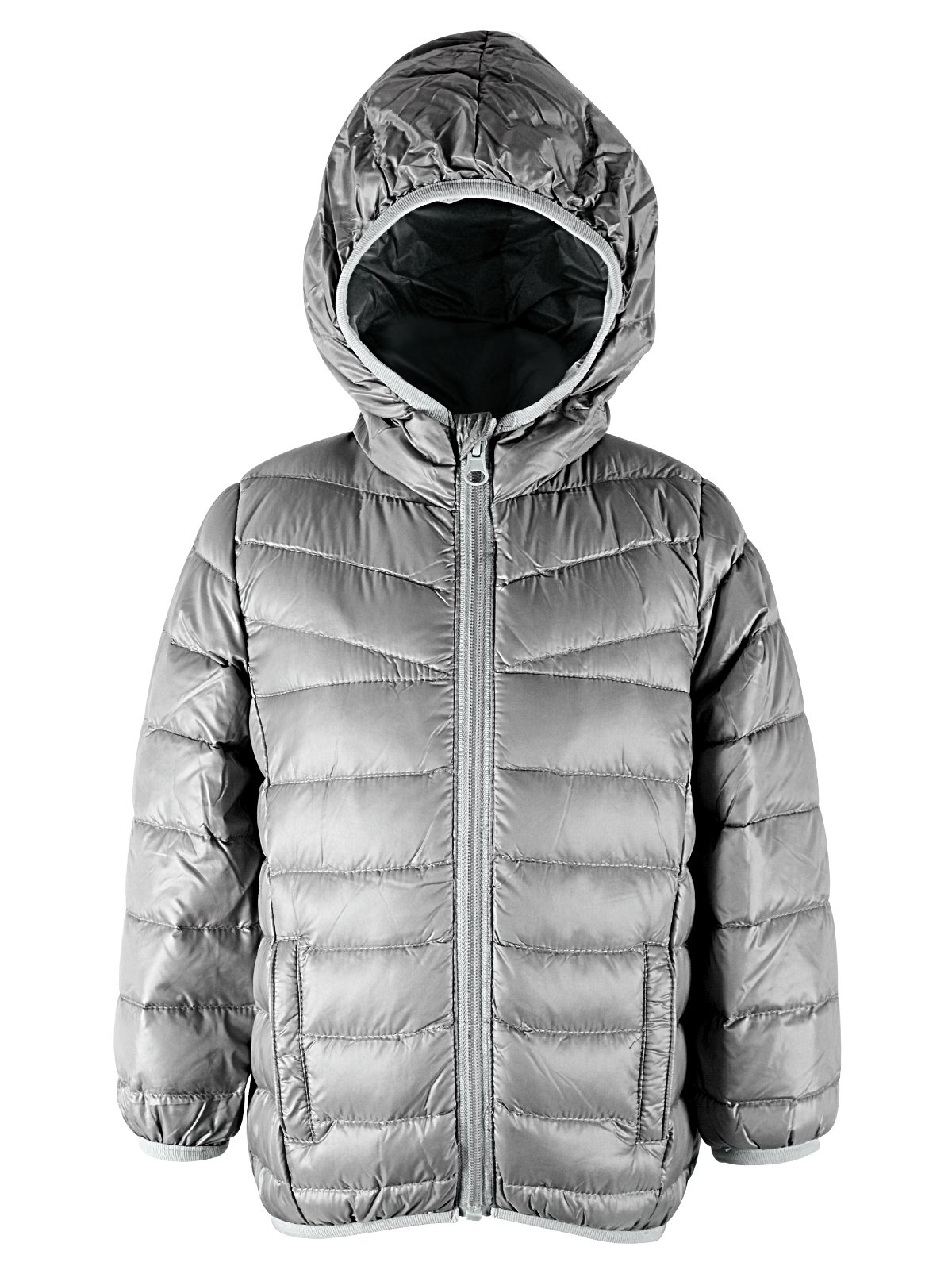 American Trends Kids Warm Down Jackets for Girls Boys Puffer Winter Coat Lightweight Packable Hooded Parka Zipper Outerwear Grey 6-6X/LABEL 140