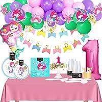 Kit Cumpleaños Niña 1 año - Pack Cumpleaños Infantil de Sirena Para Primer Cumpleaños Niña