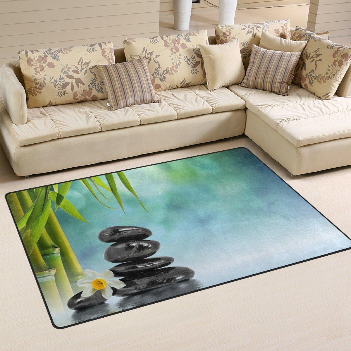 WellLee Area Rug,Zen Stones Bamboo Water Floor Rug Non-slip Doormat for Living Dining Dorm Room Bedroom Decor 60x39 Inch