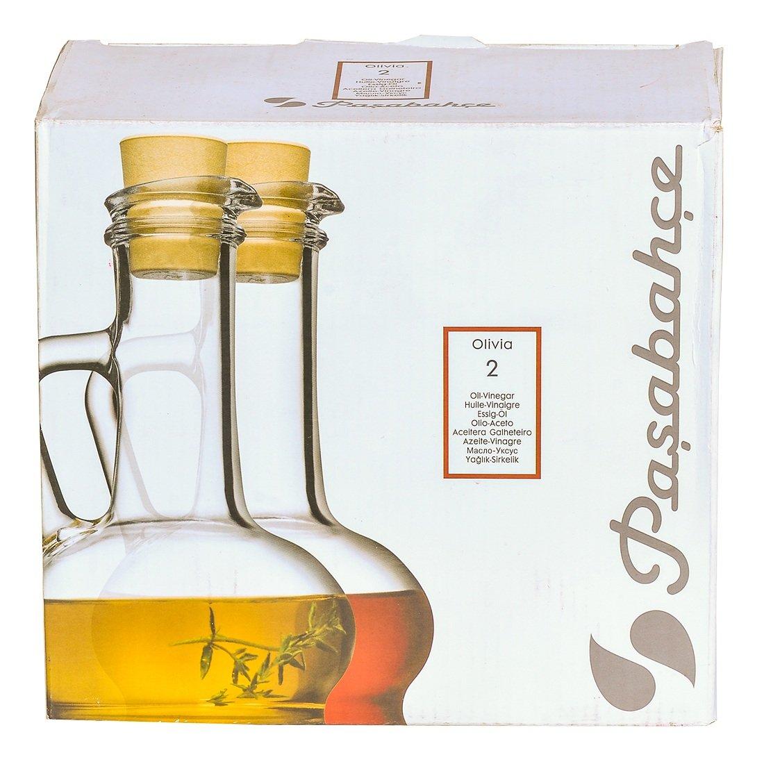Pasabahce 80109 - Botella de aceite y vinagre con corcho plástico Olivia Orient