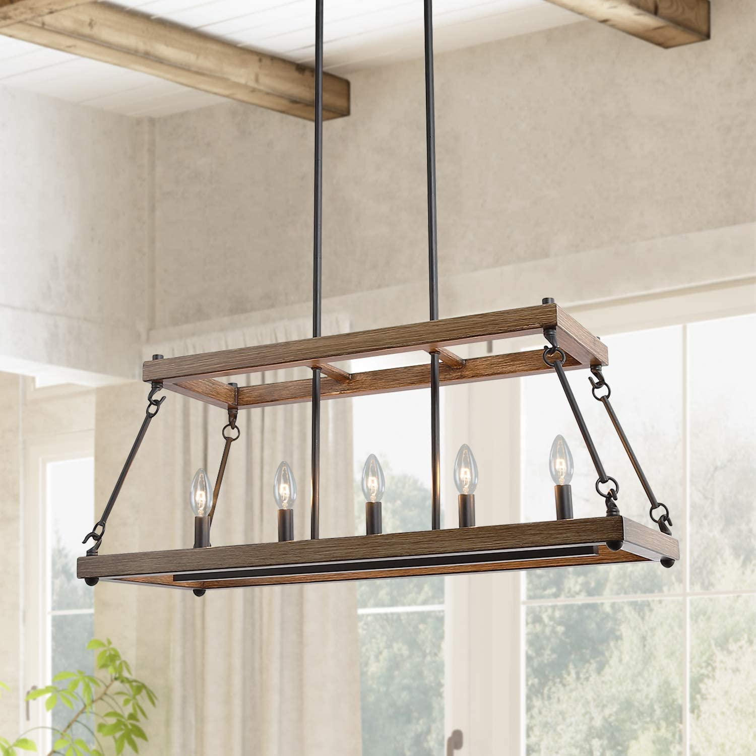 ISURAUL Kitchen Island Lighting Farmhouse Fresno Mall Wood Faux Chand Manufacturer direct delivery Smart