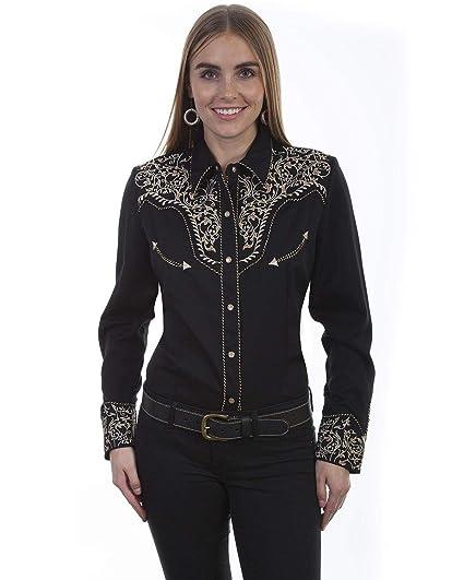 b3c170f1 Scully Women's Scroll Embroidered Long Sleeve Western Shirt Black/Tan Medium