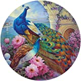 Bits and Pieces 500 Piece Round Jigsaw Puzzle for Adults - Marvelous Garden - 500 pc Beautiful Peacocks Round Jigsaw by Artist Oleg Gavrilov
