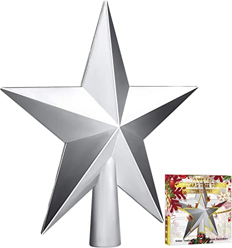 Aneco Traditional Glossy Christmas Tree Toppers Decoration Star Treetop Ornaments Holiday Decoration for Home Decor