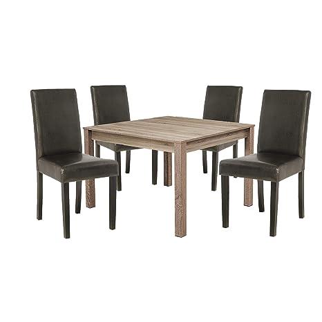 WHYNOTHOME Conjunto de 1 Mesa y 4 sillas, con Mesa Cuadrada ...