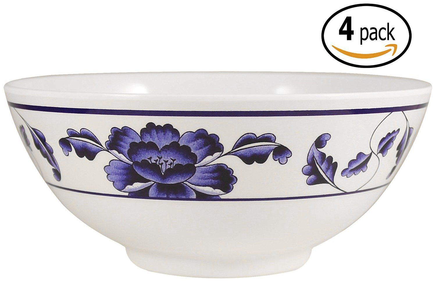 Melamine Soup / Rice Bowls with Pan Scraper, 56 Ounce, 8 Inch, Set of 4, Blue Lotus