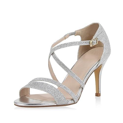 Damen Sandaletten Riemchen High Heels Stilettos Glitzer Metallic Party Abiball Hochzeit