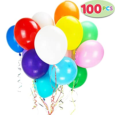 100 Pieces 12 inches Assorted Colors Latex Party Balloons with 10 Bonus Colorful Ribbons, for Birthday Party, Weddings, and any Events: Toys & Games