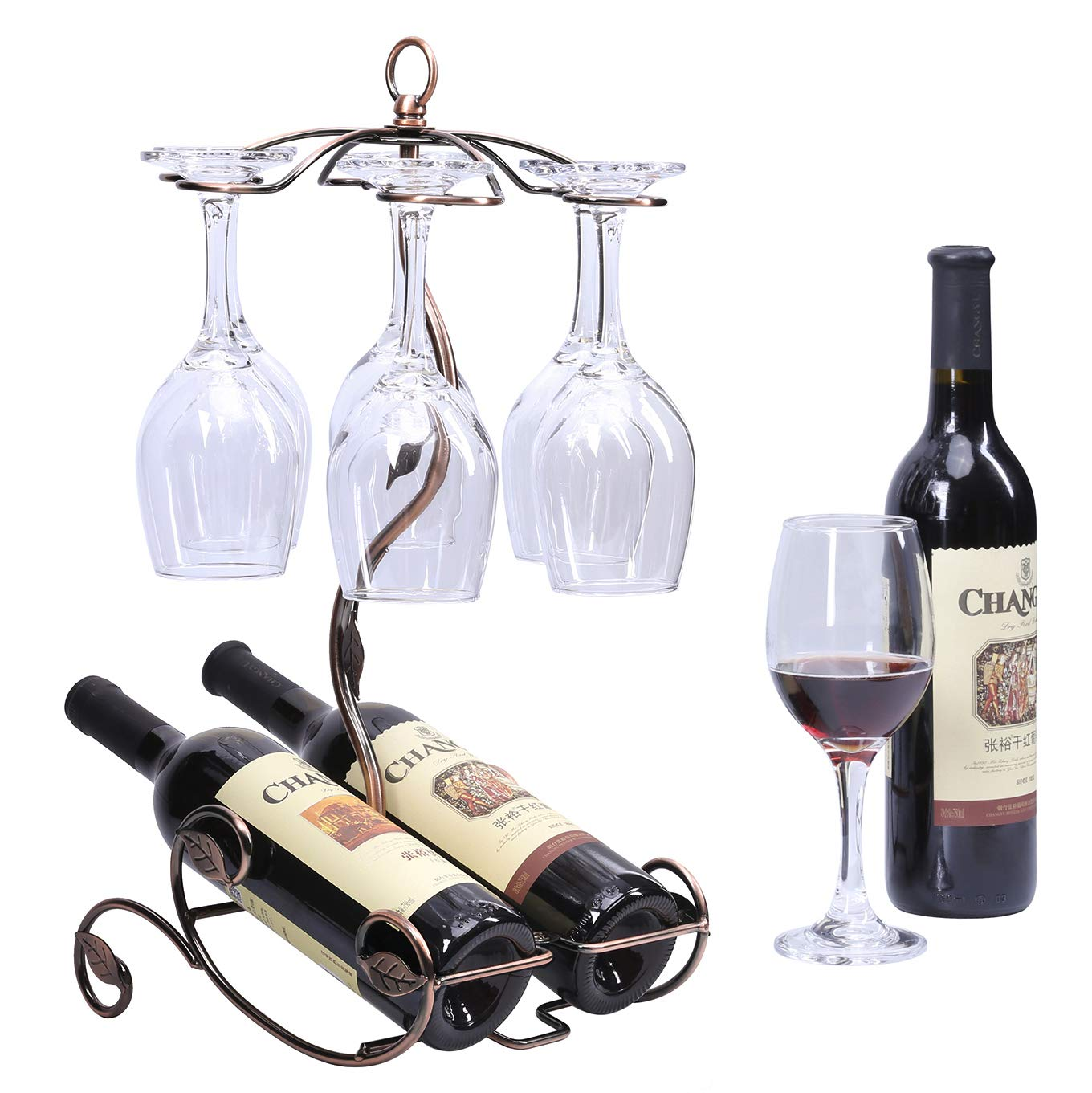 Sangyn Tabletop Freestanding Stackable Wine Glass Metal Rack Countertop 2 Wine Bottles Holder Display Stand