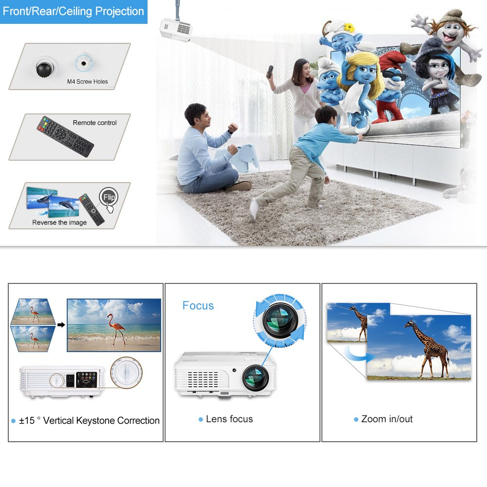 Wireless Bluetooth HD Projector 3200 Lumen Android 4.4 LCD Image System Home Theatre Projectors Support 1080p HDMI Airplay Screen Mirroring Multimedia LED Lamp 50,000hrs for Outdoor/Indoor Movie by EUG (Image #5)
