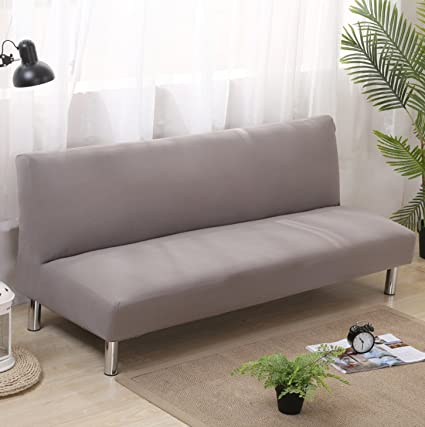 GIANCO FERRO Solid Color Armless Sofa Bed Cover,Futon Slipcover,Polyester Spandex Fabric Stretch Slipcovers Couch Protector - Grey