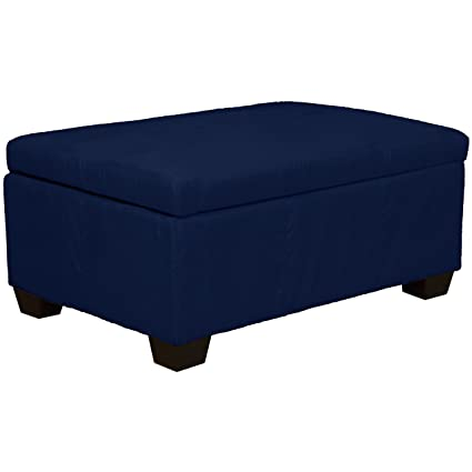 Cool Epic Furnishings 36 X 24 X 18 High Tufted Padded Hinged Storage Ottoman Bench Microfiber Suede Dark Blue Short Links Chair Design For Home Short Linksinfo