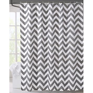 LanMeng Geometric Fabric Shower Curtain Grey Chevron Off White 72 By