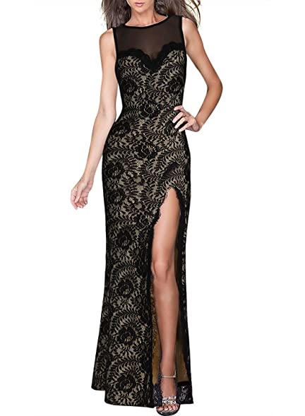 Missmay Womens Sexy Lace Mesh Split Side Long Prom Bridesmaid Party Bodycon Dress M Black