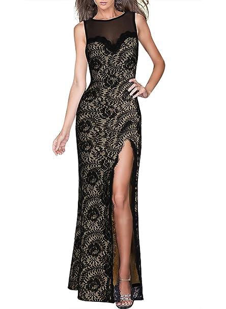 Miusol Womens Retro Flare Lace Split Side Evening Black Maxi Dress