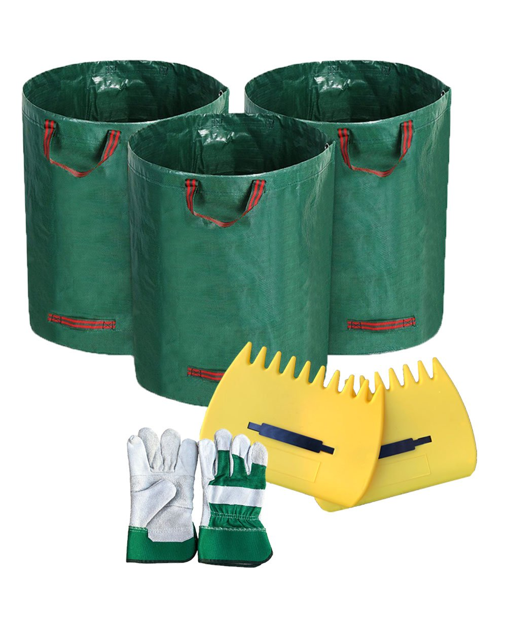 Gardening Bags Reusable and Collapsible Lawn Leaf Container for Leaves 3 Pack 72 Gallons with Leather Gloves & Leaf Scoops