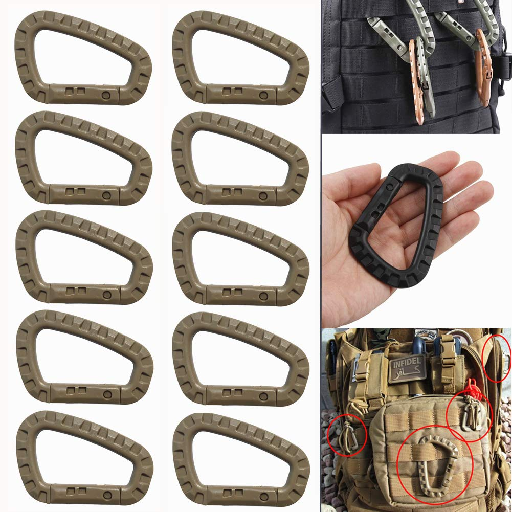 Carabiner Tactical 10Pcs//12Pcs Enforcement Polymer Light Weight D-Ring Locking Hanging Hook Tactical Link Snap Keychain