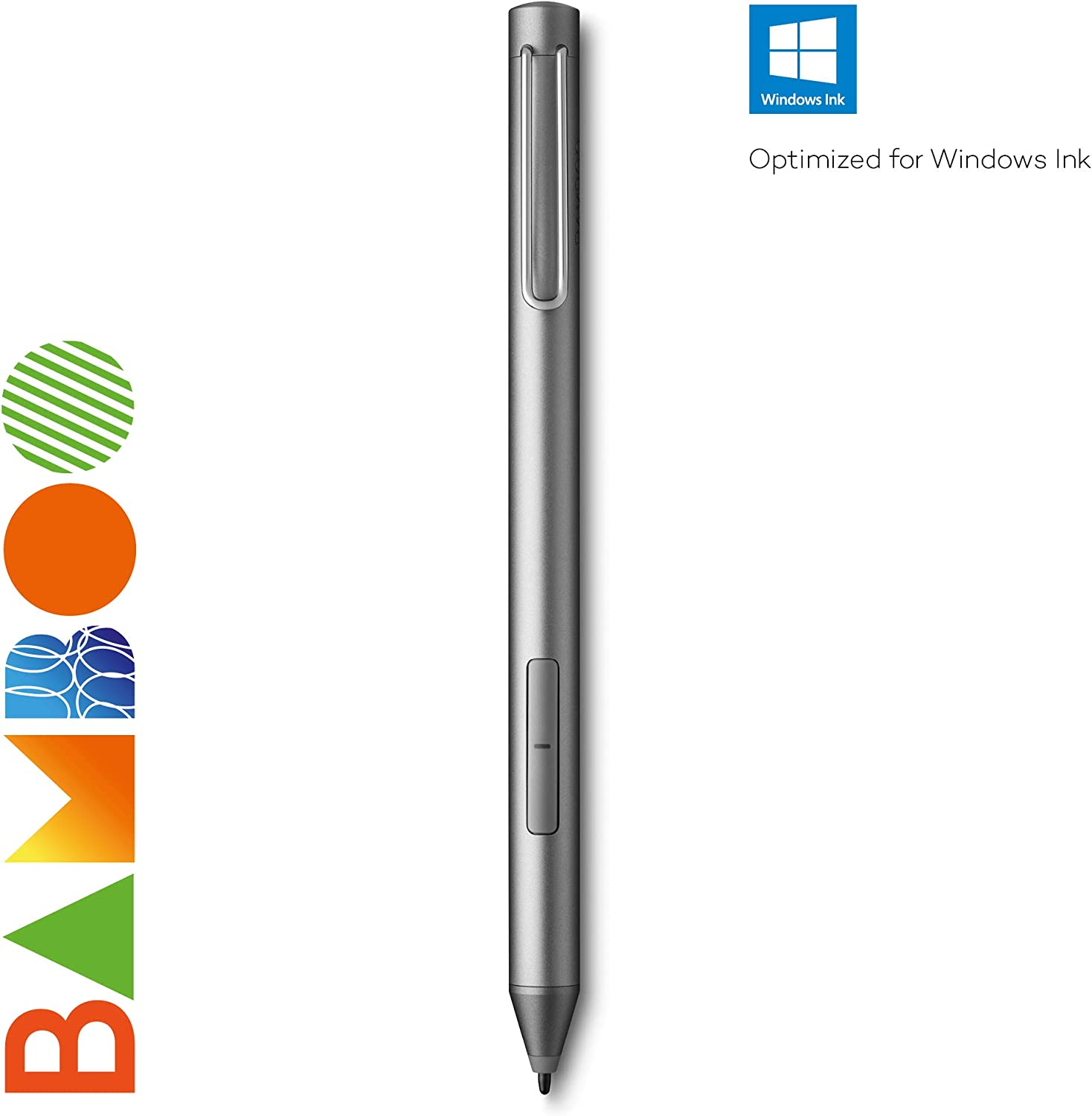 Wacom Bamboo Ink - Lápiz Digital, para una Escritura y redacción de Notas Natural en Dispositivos Aptos para lápices con Microsoft Windows 10 y Pantalla táctil, Compatible con Windows Ink, Color Gris