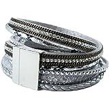Bracelet wrap slake brésilien ethnique strass cristal fermoir magnetique qualité gris
