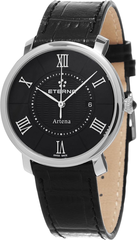 Eterna Artena Damen-Armbanduhr 34mm Armband Leder GehÄuse Edelstahl Schweizer Quarz Analog 2510-41-45-1251