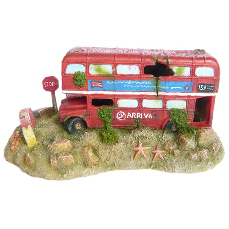 Aquarium Ornaments London Theme Bus Big Ben & Phone Set Three