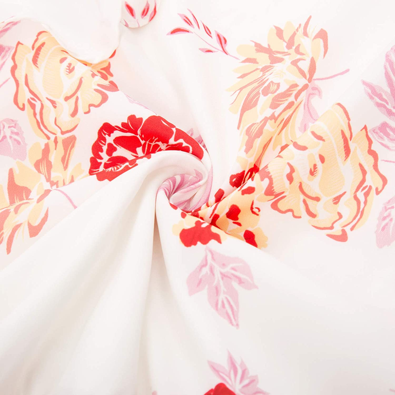 GRACE KARIN Donna Vestito Stampa Floreale Collo a V Decorato con Volant Spalline Sottili