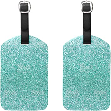 Set of 2 Luggage Tags Turquoise Sparkles Sloth Business Baggage Suitcase Labels Travel Accessories