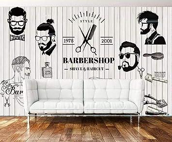 Wallpaper Retro Nostalgic Black And White Beauty Salon Background Wall Barber Shop Decoration 3d Wallpaper 300cm 210cm Amazon Com
