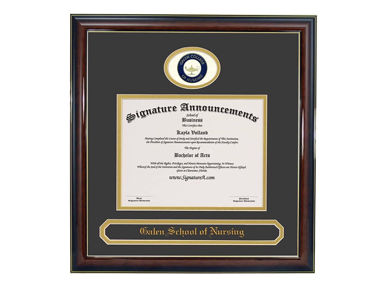 16 x 16 Signature Announcements Galen-College-of-Nursing Undergraduate Professional//Doctor Sculpted Foil Seal /& Name Graduation Diploma Frame Gold Accent Gloss Mahogany