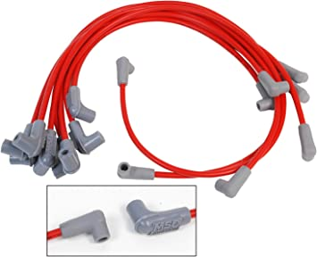 CHEVY SMALL BLOCK RED HEI DISTRIBUTOR 8.5mm SPARK PLUG WIRES under the exhaust