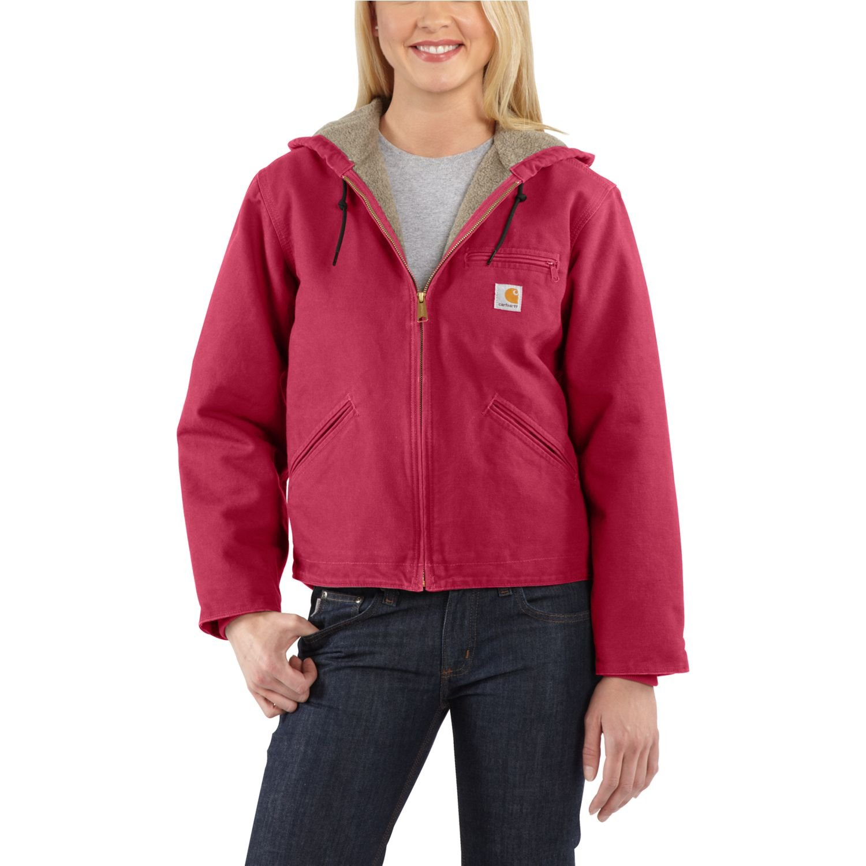 Carhartt Women's Sherpa Lined Sandstone Sierra Jacket Zip Front Hooded WJ141,Crab Apple,Medium