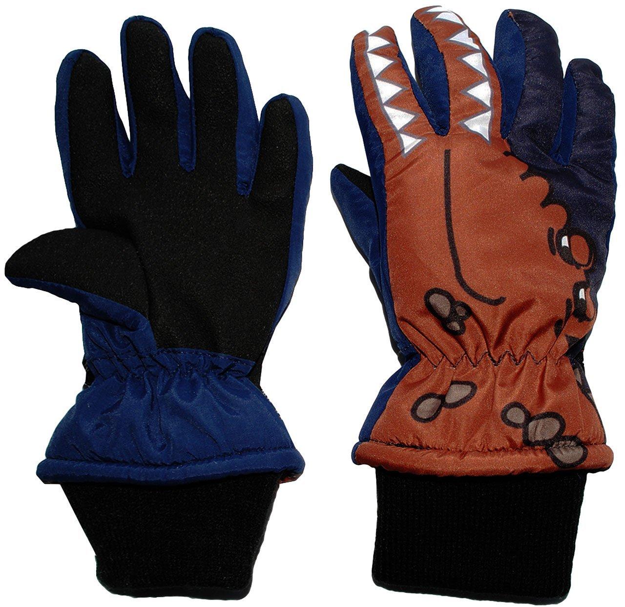 alles-meine.de GmbH Fingerhandschuhe mit Schaft / Strick Bündchen - Krokodil blau - Größe: 2 bis 4 Jahre - Thermo gefüttert Thermohandschuh - wasserdicht + atmungsaktiv Thins..