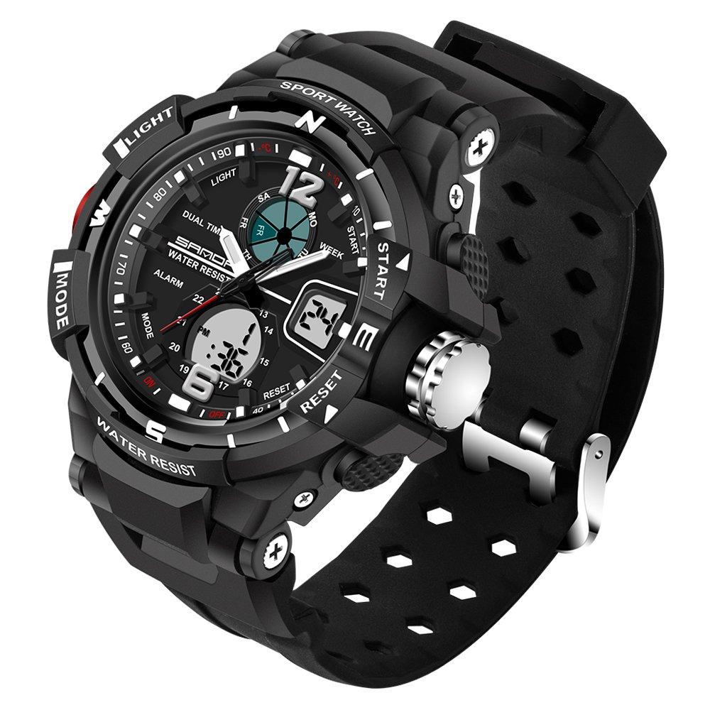 Kid LED Watch Child Boy Girl Sport Multi Function Analog-Digital Waterproof Electronic Quartz Watches-Black