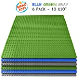 "Lego Compatible Baseplates 10"" x 10"" in Blue and Green, Works with Major Brick Building Sets, Wonderful Plate for Kids (6 Pcs)"