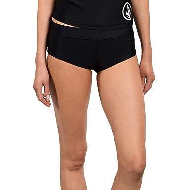 2c8962c4b1e3 Volcom Women's Junior's Simply Solid Boy Cut Bikini Bottom, Black, Extra  Small