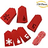 Aneco 150 Pieces Paper Tags Kraft Christmas Tags Hang Labels Christmas Tree Snowflake Reindeer Design for Christmas Gift Favor,DIY Arts and Crafts Wedding Supply with 30 Meters Red-and-white Twine
