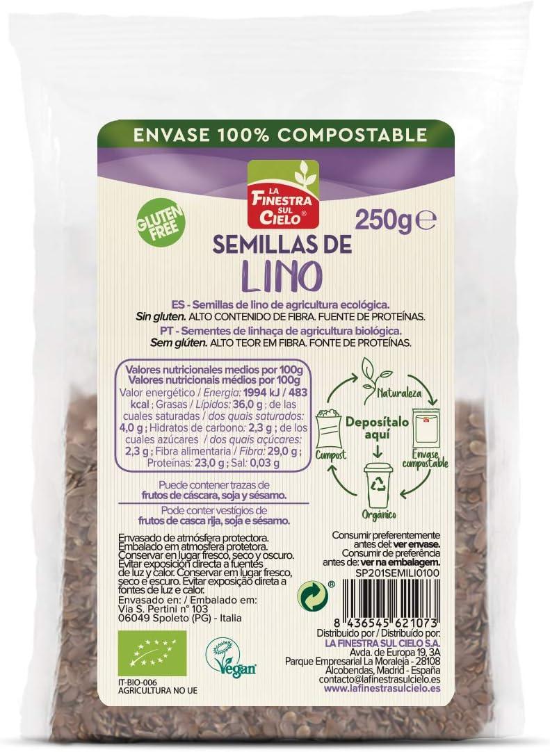 Semillas de lino pulidas bio/gluten free - La Finestra sul cielo - 250gr. (BIO): Amazon.es: Alimentación y bebidas
