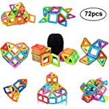 PovKeever Bloques Magnéticos de Construcciones, 72 Piezas Kits de azulejos de construcción de imán Conjunto de bloques de construcción Juguete educativo Perfect DIY Juguete o niños regalo de