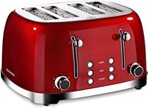 REDMOND 4 Slice Toaster Retro Stainless Steel Toasters with Bagel Defrost Cancel Function, 6 Browning Settings, Red, ST033