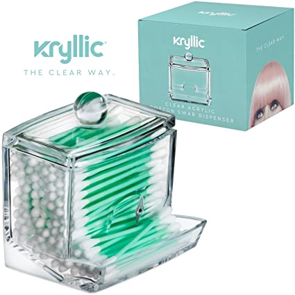 Acrylic Q Tip Cottonswab Storage Dispenser   Designed To Dispense Smoothly  Also Great For Cotton