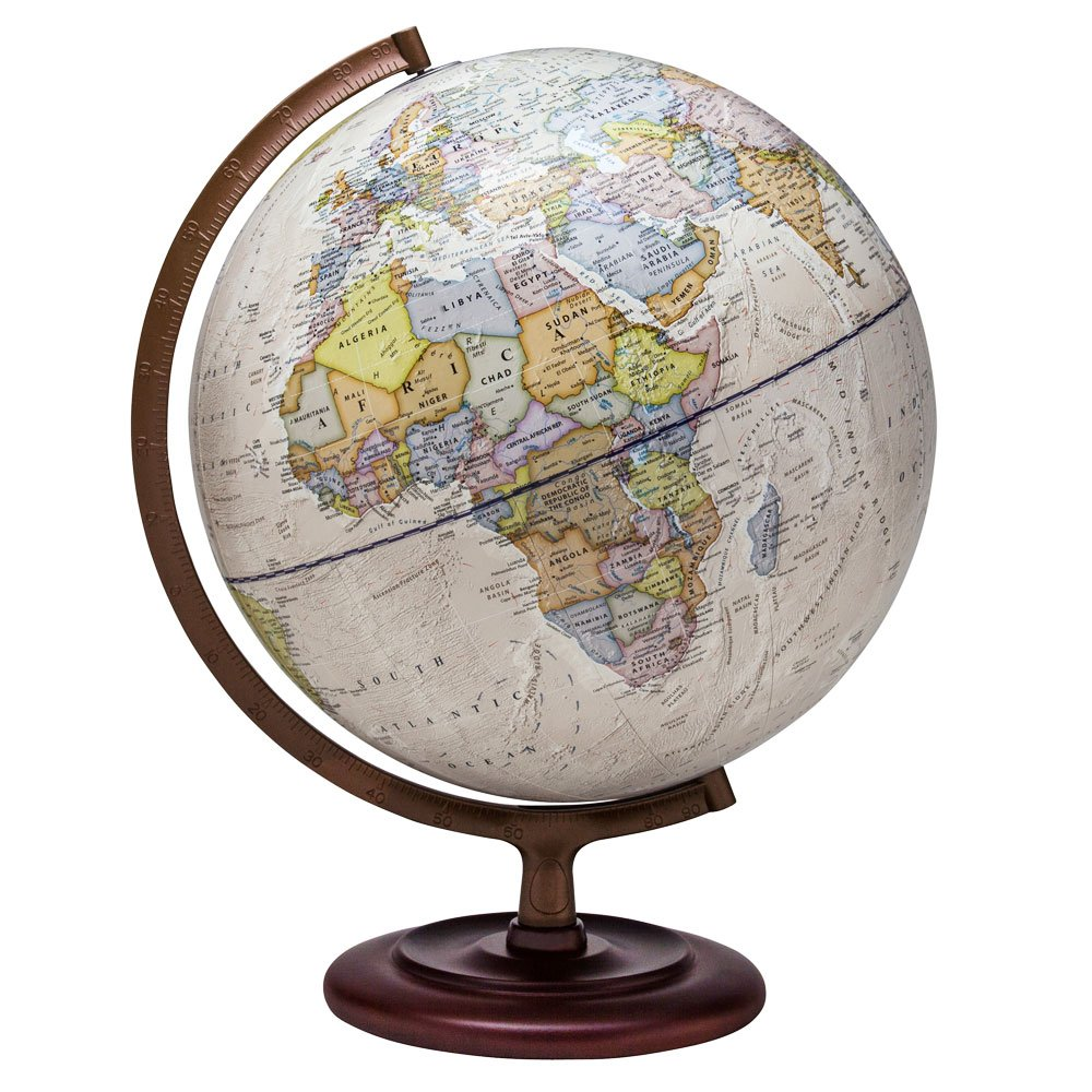 Waypoint Geographic Ambassador Globe - 12 inch Globe with Stand - UP-TO-DATE - Over 4,000 Named places & Points of Interest - Excellent Reference and Decorative Globe for Home, Office & Classroom