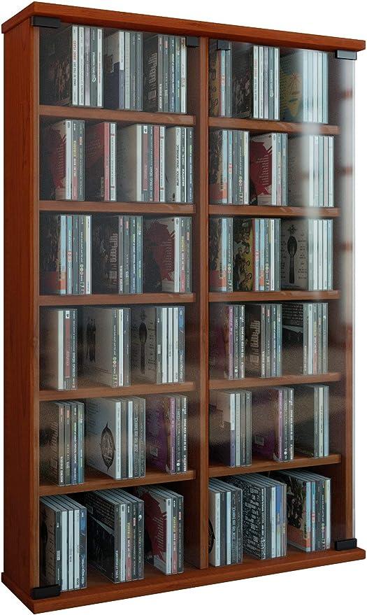 VCM Zuntisa Estante Mural para colección de CDs y DVDs, Cerezo, 91,5x60x18 cm