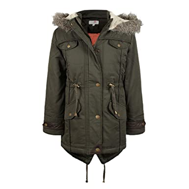 f3cf1fd8e New Girls Faux Fur Hooded Padded School Parka Coat Jacket Age 7 8 9 ...