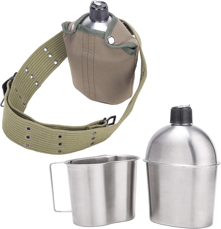 CO-Z Cantimplora Militar 1 Qt G.I. Cantina Militar de Acero Inoxidable Cantimplora de Agua Militar Multifuncional Botella de Agua con Taza y Cubierta de Nailon para Camping Senderismo