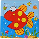 Transer® Toys for Children- Wooden Fish Jigsaw - Kids Wise Pretend Puzzle Learning Education Toy Gift