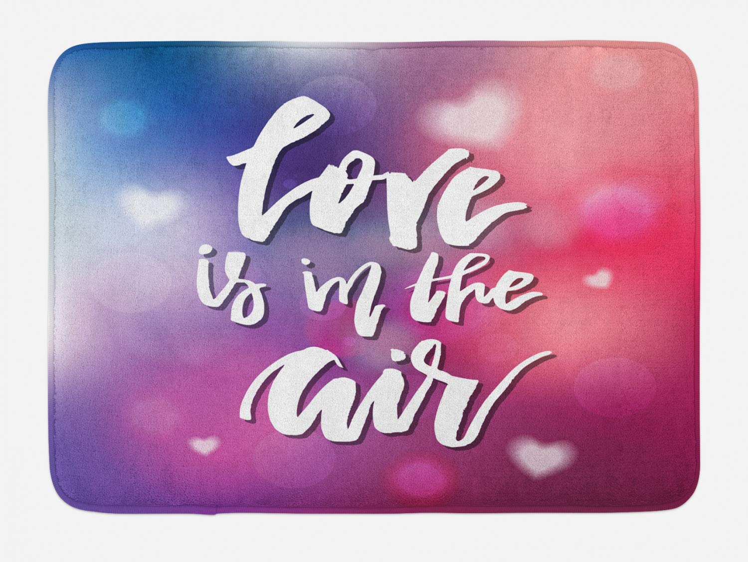 Love is in The Air Hand Drawn Typographic Inscription on Blurry Backdrop with Hearts Plush Bathroom Decor Mat with Non Slip Backing,46.8'' W by 62.4'' L