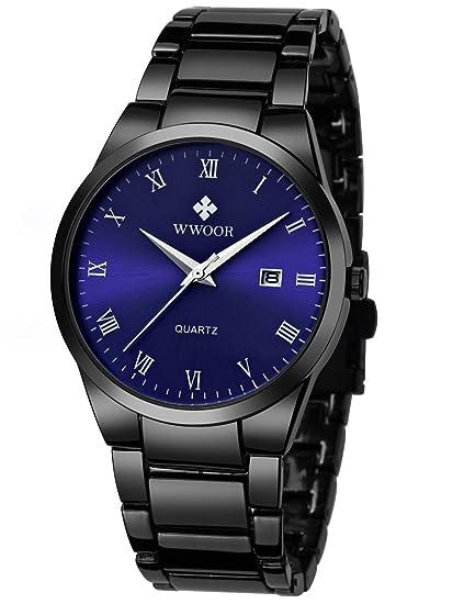 wwoor hombre relojes gran esfera automático FECHA negro reloj de pulsera de cuarzo correa de acero inoxidable 8830: Amazon.es: Relojes