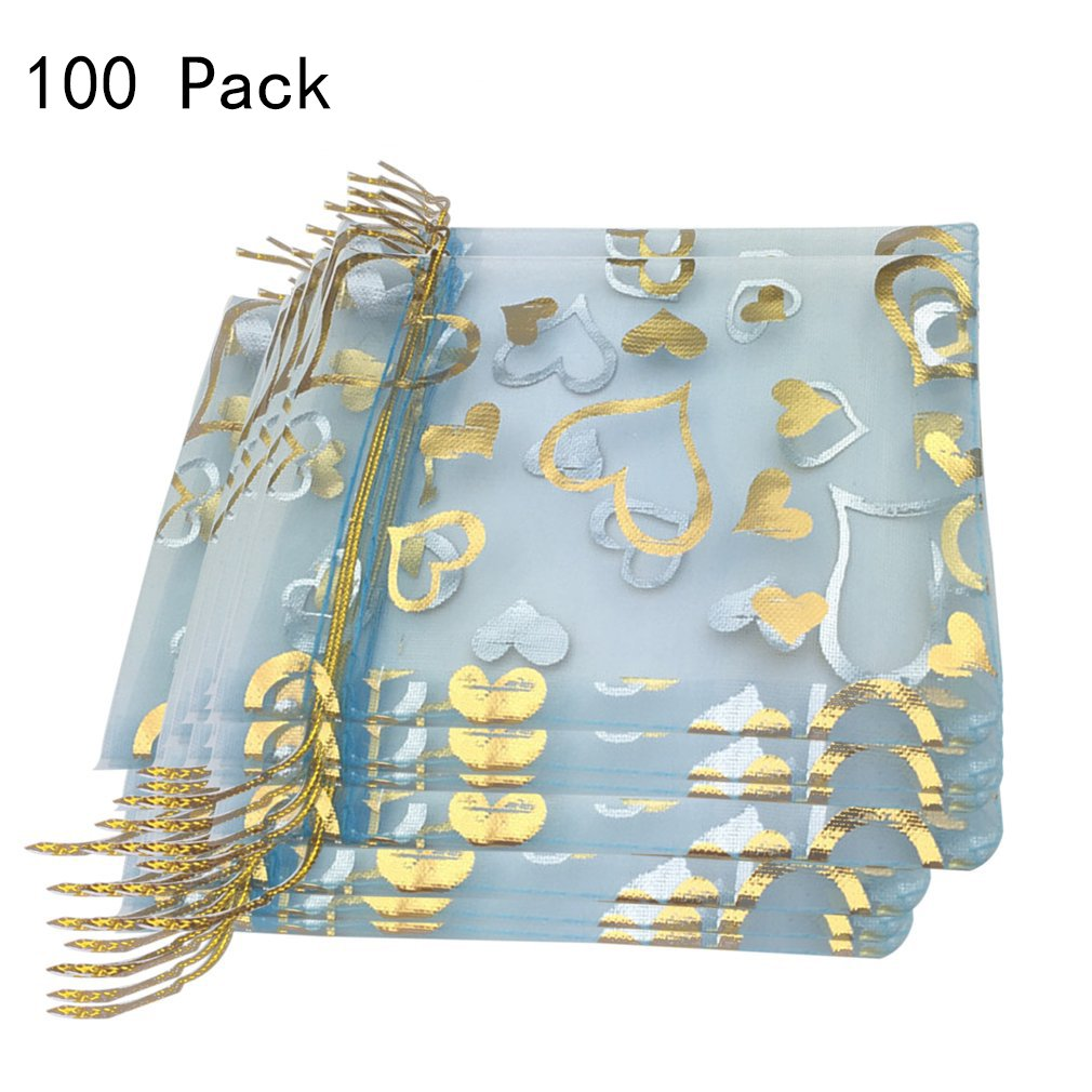 DAYSTART 100PCS Organza Pouch Bag Drawstring,4 x 5 inch / 10 x 12 cm(L x W) Jewelry Pouch Heart Bronzing Gift Candy Bag For Party/Game/Wedding(light blue)